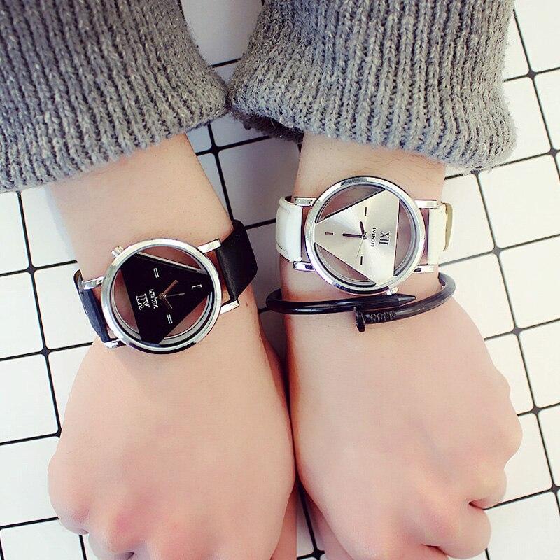 Fashion Tide Men Women Watch Hollow Quartz Casual Student Couple Watches Triangle Wristwatch