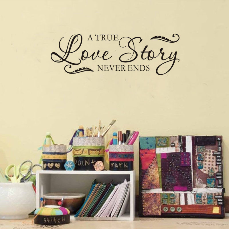 Free shipping a true love story never ends quotes wall for Room decor inspiration