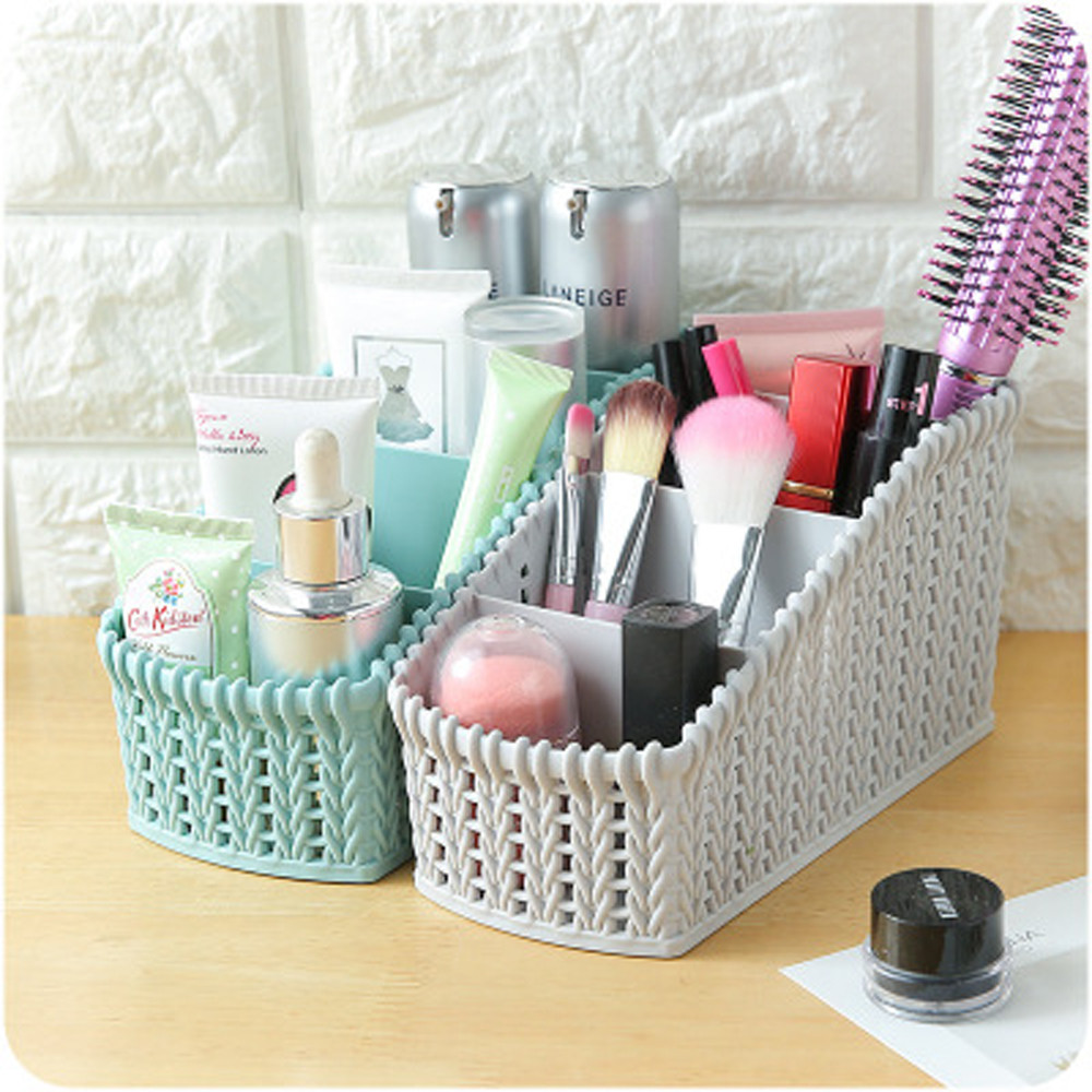 1PC Office Plastic Storage organizers Box Desktop Finishing Box Cosmetics Debris Case simple design organizador de maquillaje(China)