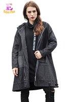 Alta Calidad 5% DE pecho 110-120 cm de algodón casual nuevo invierno 2016 negro denim gabardina larga mujer plus tamaño de los pantalones vaqueros con capucha 5XL