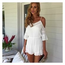 Sexy rompers womens summer jumpsuit High Waist white lace straps bodysuit hollow out jumpsuits plus size women clothing 2017