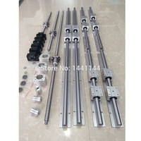 6 set SBR16 400/700/1000mm linear guide Rail + SFU1610 400/700/1000mm ballscrew + BK/BF12 + Nut housing + Coupler CNC parts