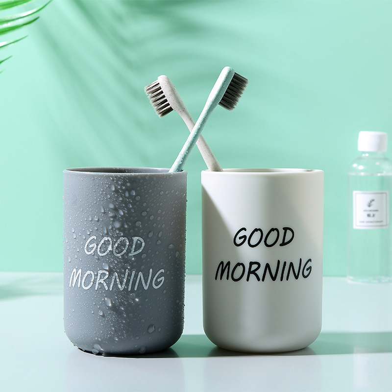 2PCS Plastic Bathroom Toothbrush Cup Simple Plain Portable Couple Tooth Cup Good Morning Bathroom Storage Holder Couple Love
