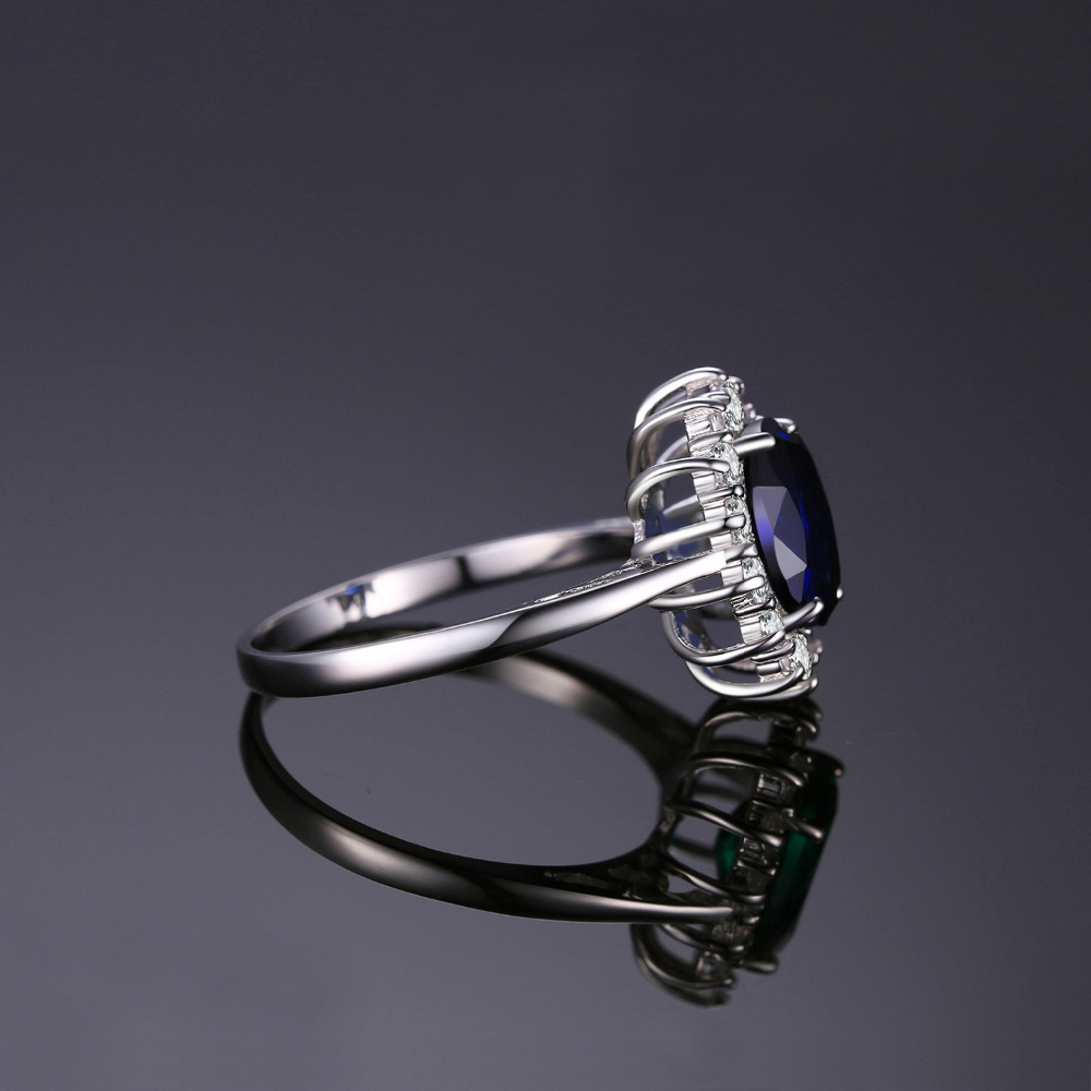 c8e1be696657 OMHXZJ europea al por mayor moda mujer hombre boda fiesta regalo plata  rectángulo azul Topacio anillo