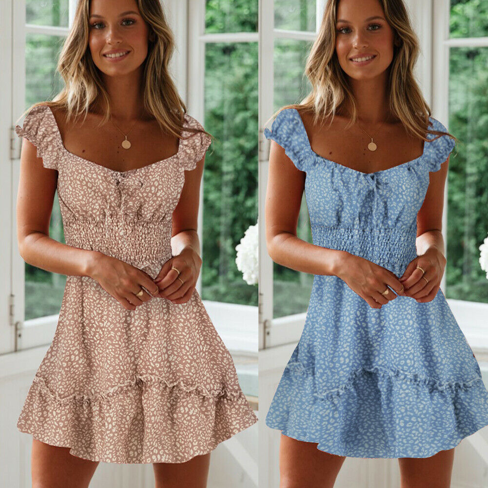 Women Summer Boho Short Mini Dress Evening Party Beach Dress Sundress Sleeveless Ruffles Casual Holiday Dresses