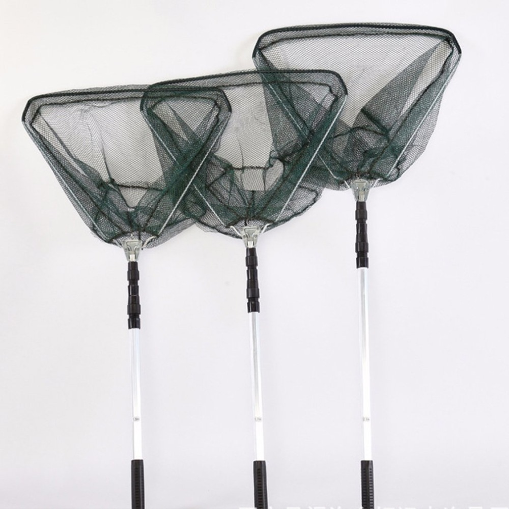 Portable Aluminum Alloy Triangle Folding Fishing Nets Fly Fishing Hand Dip Net Fishing Tackle Fishing Tool