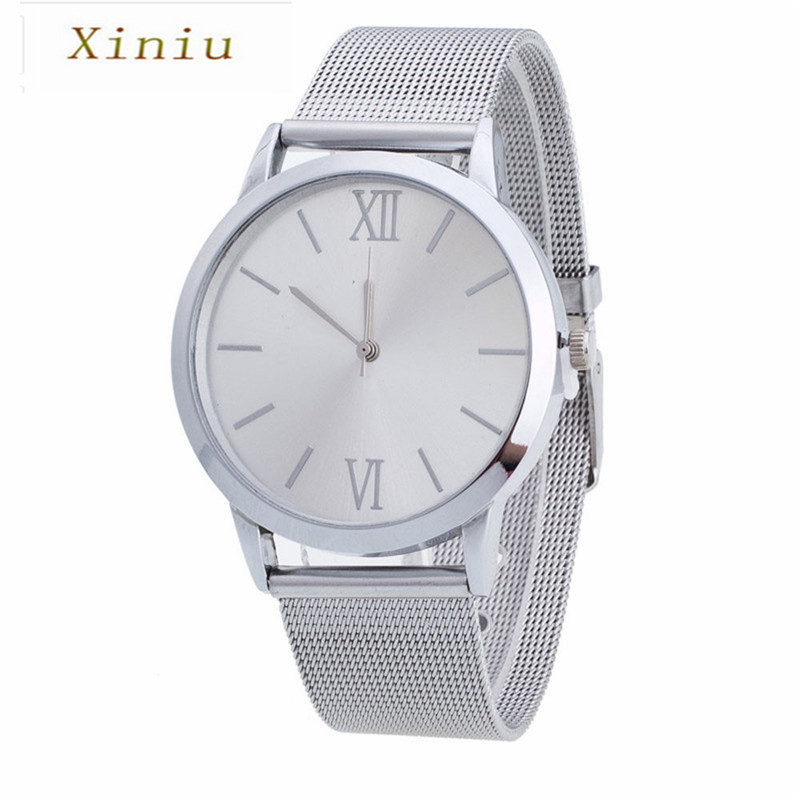 Women Simple Women Men Watches Ladies Silver Stainless Steel Mesh Band Wrist Watch Mens Watches Top Brand Women's Wristwatch  high quality women s watch women ladies silver stainless steel mesh band wrist watch top gifts dropshipping m18