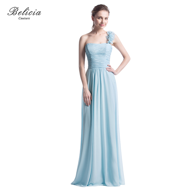 Belicia Couture Fashion Women One Shoulder Long Chiffon Evening Dresses  With Flowers on Shoulder and Pleated 1a20eb7d7e0a