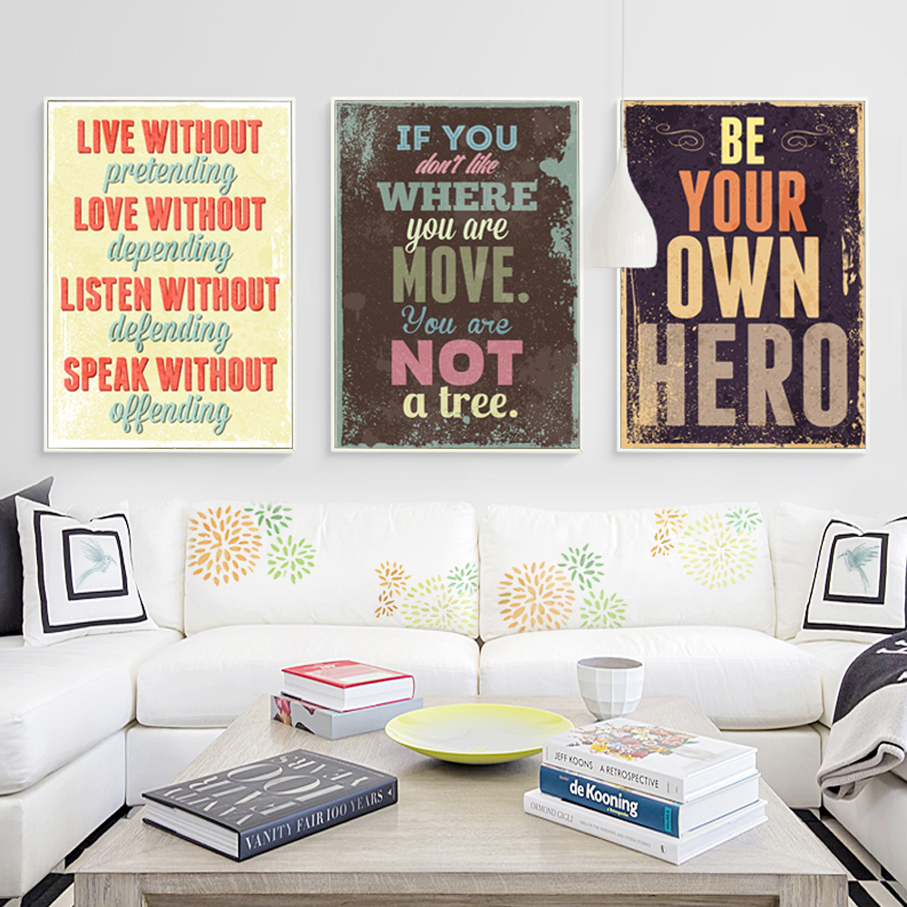 Bianche Wall Retro English Motto Inspirational Quote Color Canvas Painting Art Print Poster Picture Wall Paintings Wall Decor