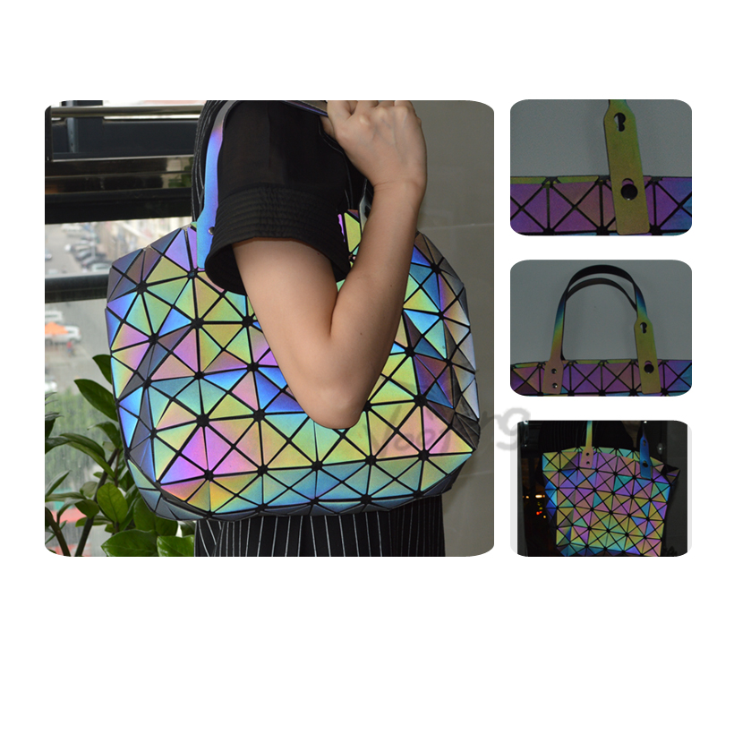 New fashion Colorful laser diamond foldable reflective female bag