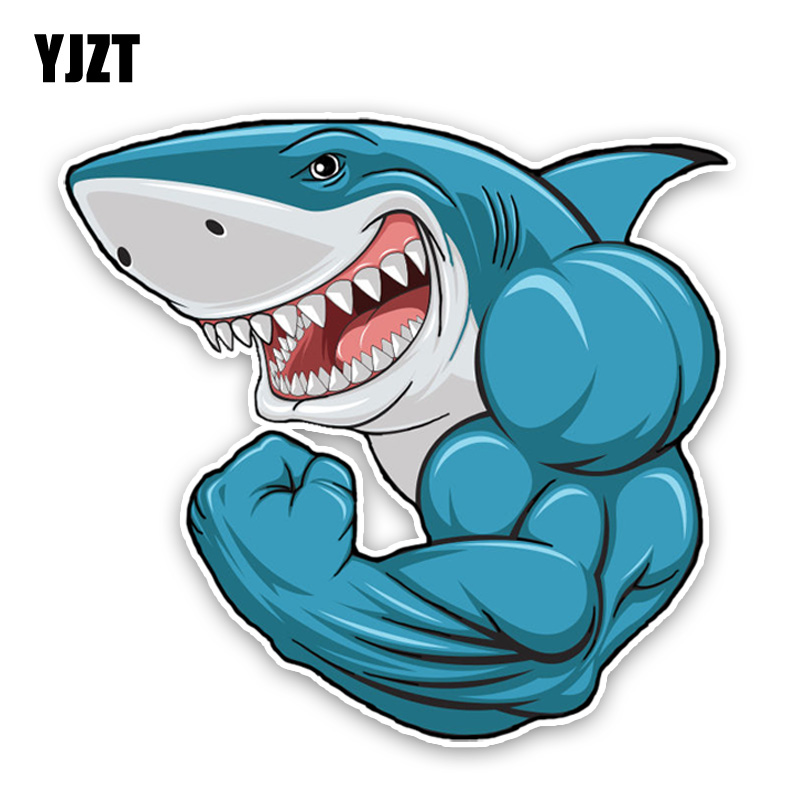 YJZT 14.7*13.7CM Fashion Lovely Cartoon Muscle Sharks Colored PVC Car Sticker Decoration Graphic C1-5373