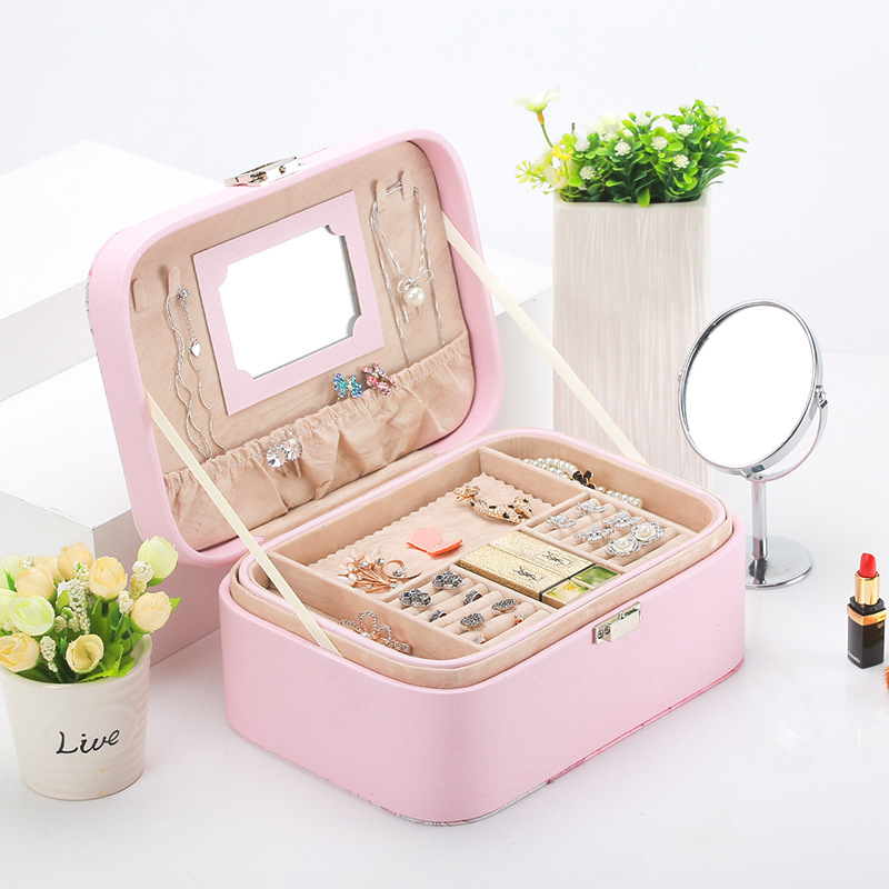 LVV HOME double layer leather jewelery box/Waterproof durable fashion color earring ring storage box
