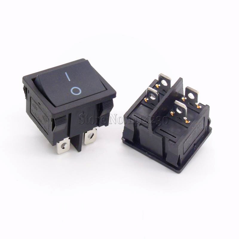 KCD5 21X24mm 4 Pin 2 Position 6A/12A 250VAC ON OFF DPST Black ...