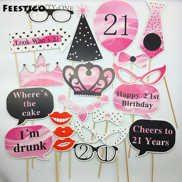 US $4 59 |FEESTIGO 20pcs/set 21st Happy Birthday Party Photobooth Props DIY  Photography Girls Brithday Party Decorations Supplies-in Photobooth Props