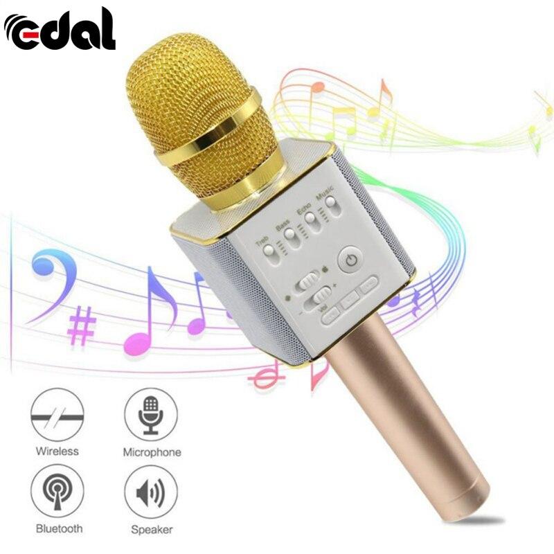 EDAL Sans Fil Bluetooth Karaoké Microphone Professionnel Lecteur haut-parleur USB KTV Mic Lecteur Avec Carring Cas Pour Iphone/Android