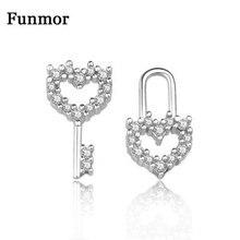 Funmor Asymmetry Key Lock Heart 925 Sterling Silver Earrings Cubic Zircon Fine Jewelry For Women Girls Accessories Appointment