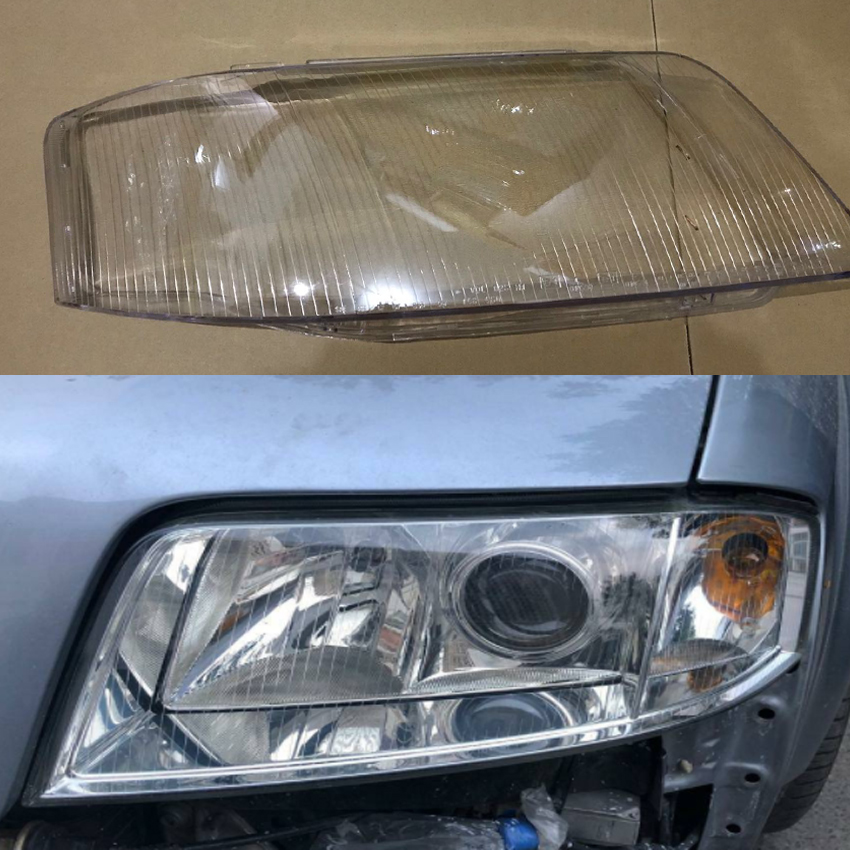 สำหรับ Audi A6 C5 1999-2002 เลนส์โปร่งใสโคมไฟไฟหน้าโปร่งใสโคมไฟพลาสติกฝาครอบป้องกันฝาครอบ