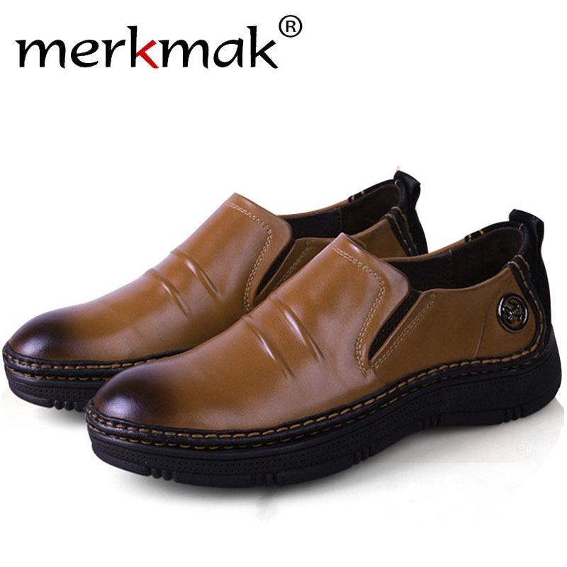 Merkmak Vintage Genuine Leather Big Size 36-48 Men Flats Shoes Casual Spring Summer Business Footwear for Men's Outdoor Shoes электрический камин alex bauman ludovik p 33 wfx pt ef wm042e42 8344