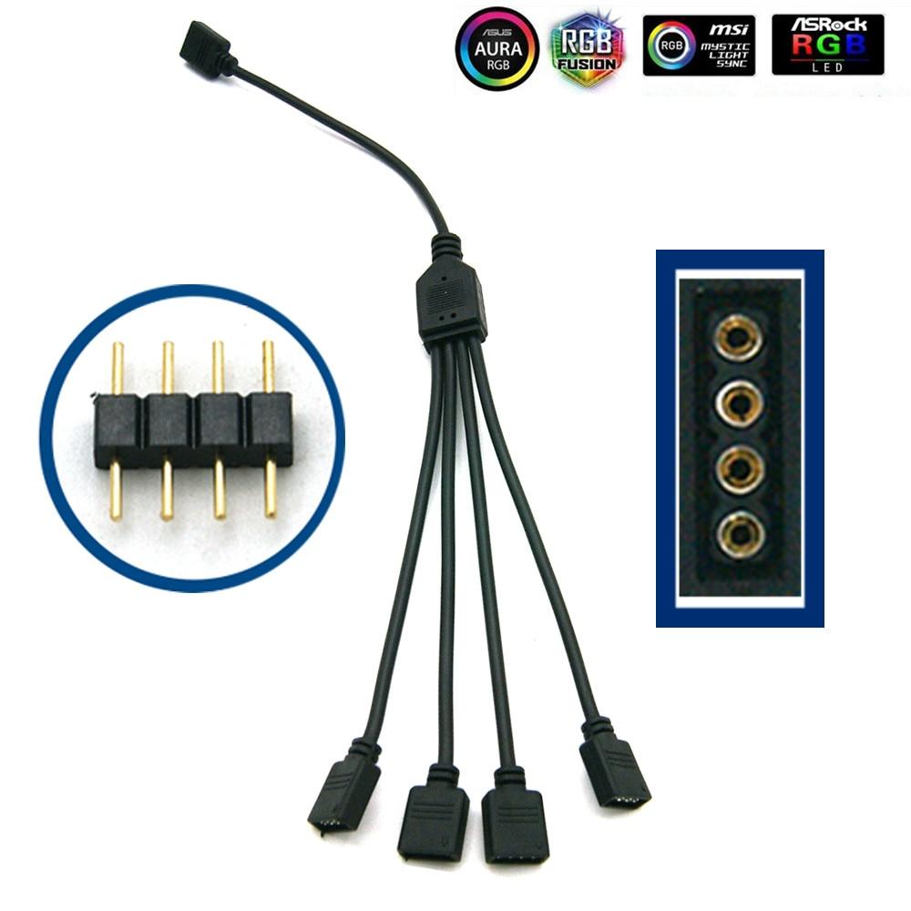 Материнская плата AURA RGB разветвитель Интерфейс 12 V/5 V прибор приемно-D-RGB синхронизации концентратор передачи мм, удлиняющий кабель, для ASUS GIGABYTE MSI - Цвет лезвия: 1-4(4Pin 12V)