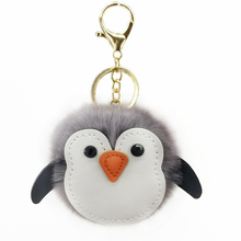 Penguin KeyChain Pompom PU Car Key Ring Pendant Fur Ball Keychain  y Bags Pendants Decor Cartoon Couple Ornament Gift
