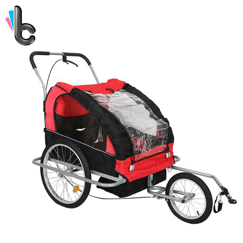 2 IN 1 Pet Dog Bike Trailer Bicycle Trailer Stroller Jogging Suspension Red ...