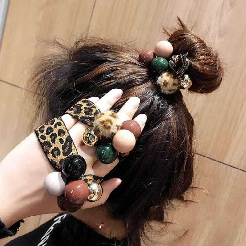 New Fashion Hair Accessories Leopard Hair Rope Tie Hair Band Rubber Simulation Pearl Hair Ring Wholesale Headbands For Women