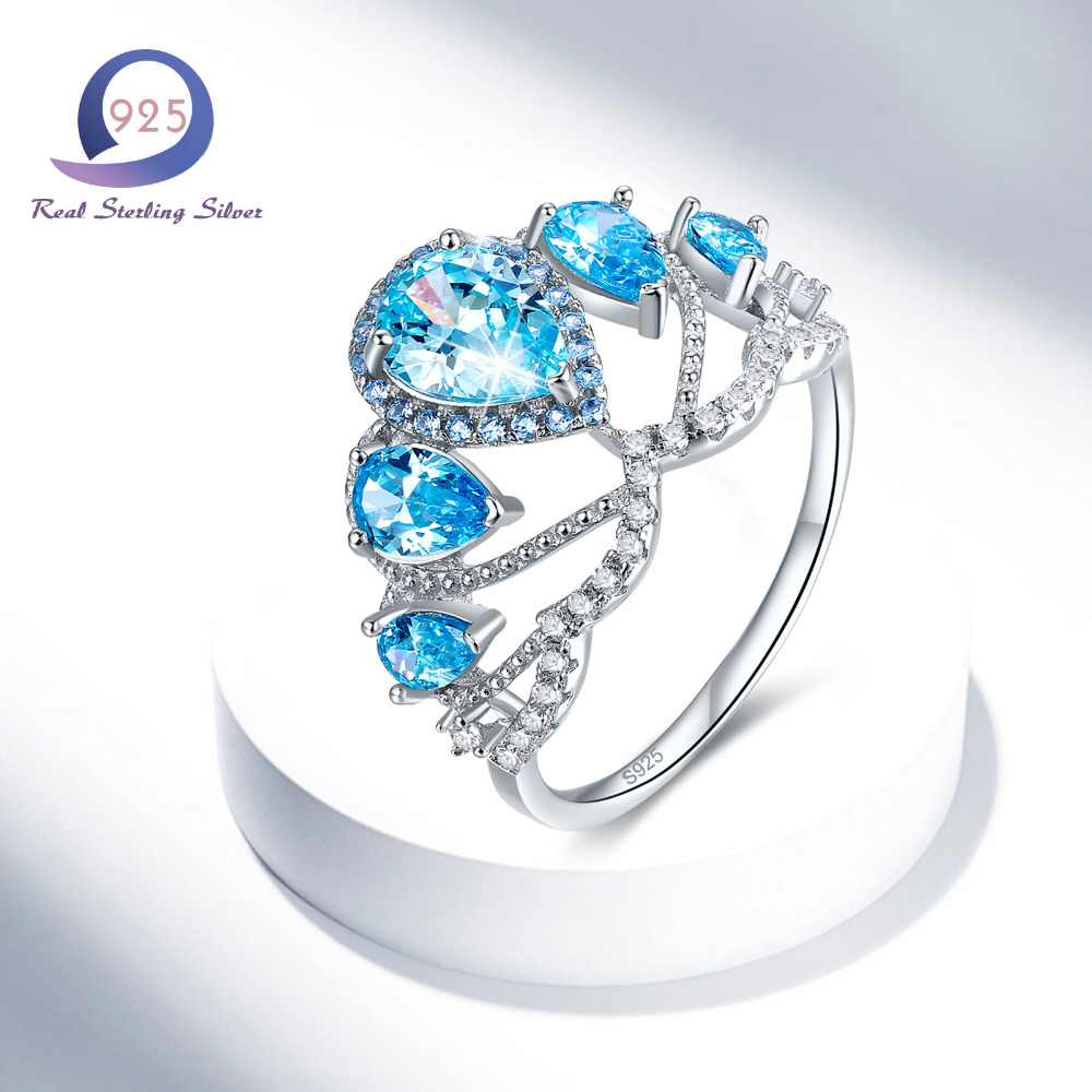 Merthus 925 Sterling Silver 5 Stone Rings 2.42 CT Pear Pear Shape Blue Tiara Crown Promise Engagement Snubní prsten pro módní lady