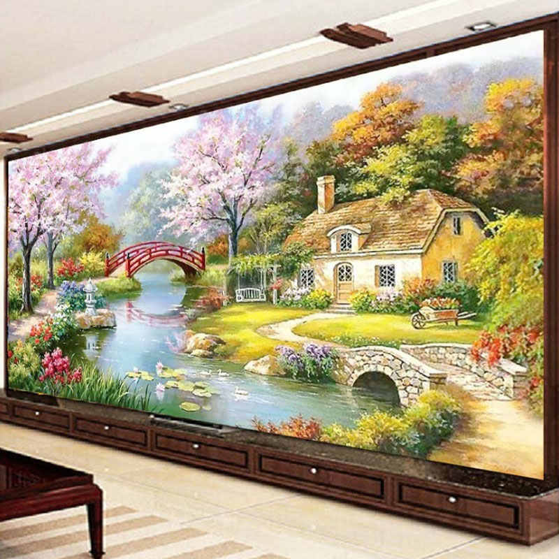 Japanese Garden Scenery DIY Precise Printed Full Cross Stitch Embroidery  Kit Needlework Handmade Counted Craft Gift Part 97