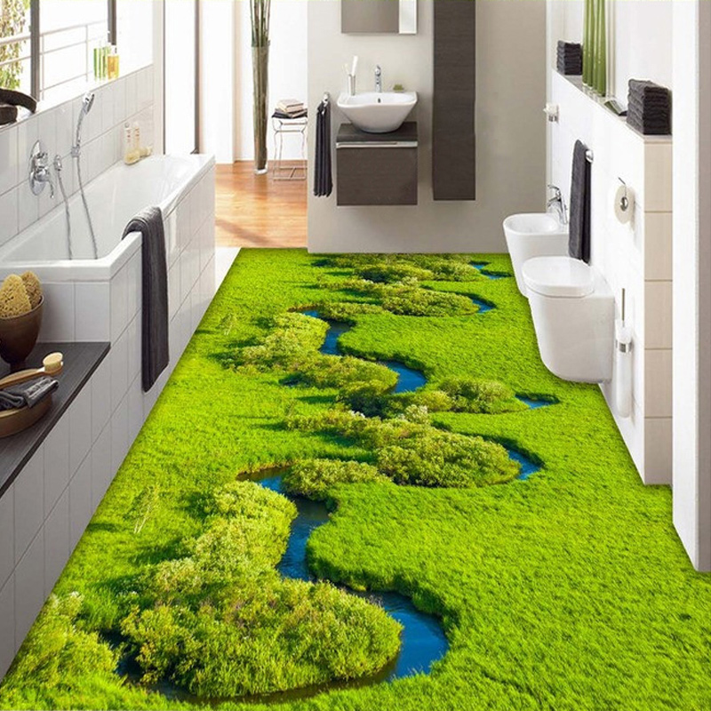 Custom photo wallpaper meadow creek wetland plant pvc for Bathroom mural wallpaper