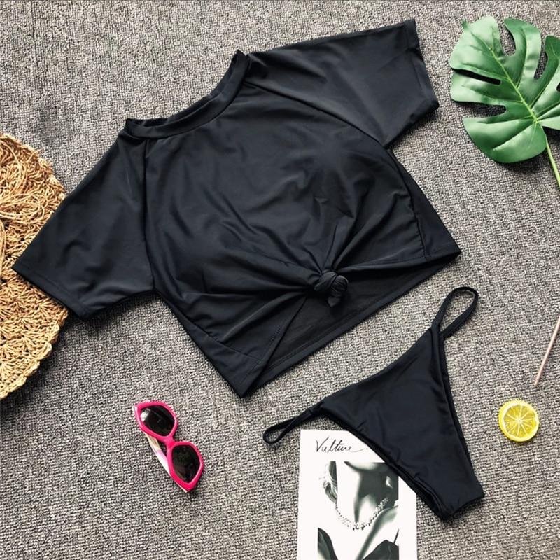 HTB1pTI8hZj B1NjSZFHq6yDWpXaV Knot crop top bikini 2019 Leopard swimwear women bathers Yellow push up swimsuit female T-shirt thong bikini sexy bathing suit