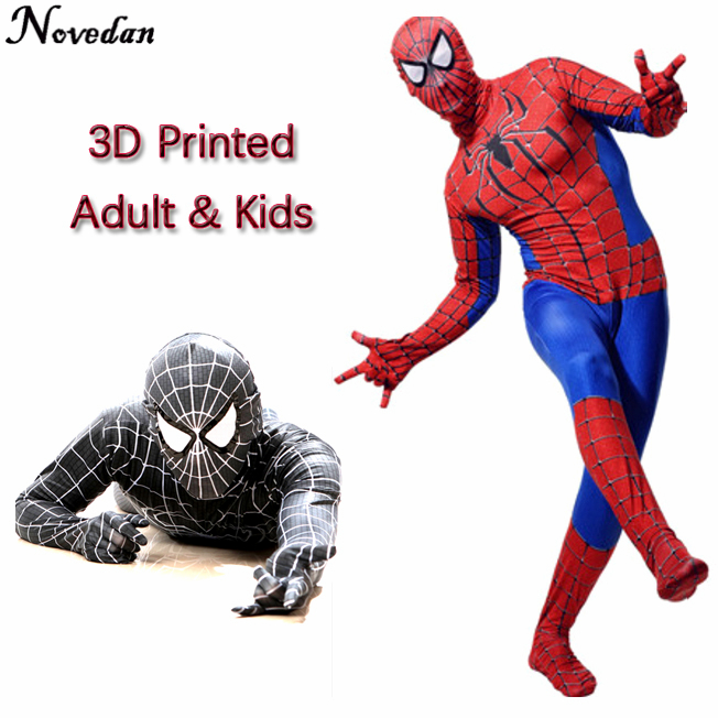 Spiderman Costume Kids Girl Child The Amazing Spider Man Mask Costume Suit Boys Black Party Halloween Adult Men Cosplay Clothing