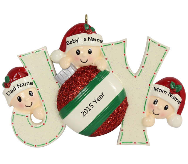 Us 9 92 Joy Family Members Of 3 Polyresin Glossy Accents Personalized Christmas Tree Ornaments For Home Decorations In Pendant Drop Ornaments From