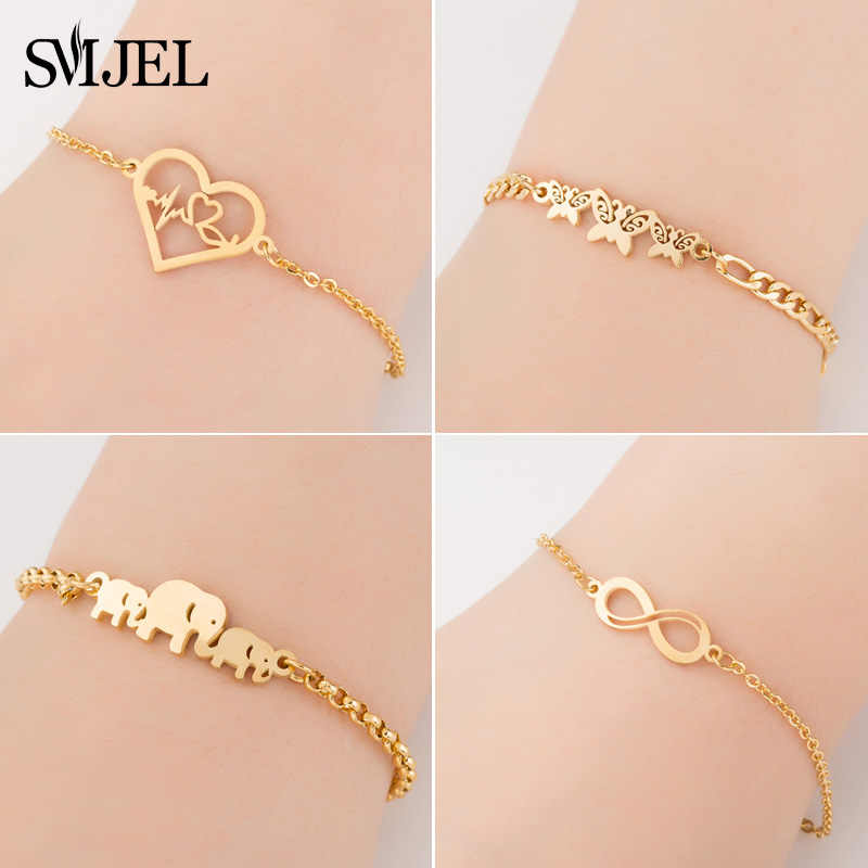 SMJEL Stainless Steel Animal Bracelets for Women Everyday Jewelry Gold Cz Butterfly Charm Bracelet Femme Wedding Gift