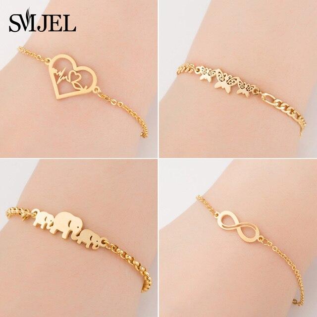 SMJEL נירוסטה בעלי החיים צמידי עבור נשים כל יום תכשיטי זהב Cz פרפר קסם צמיד Femme חתונה מתנה