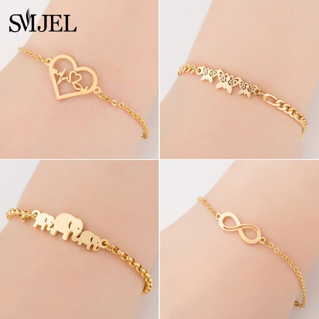 SMJEL Stainless Steel Animal Bracelets for Women Everyday Jewelry Gold Cz Butterfly Charm Bracelet Femme Wedding Gift