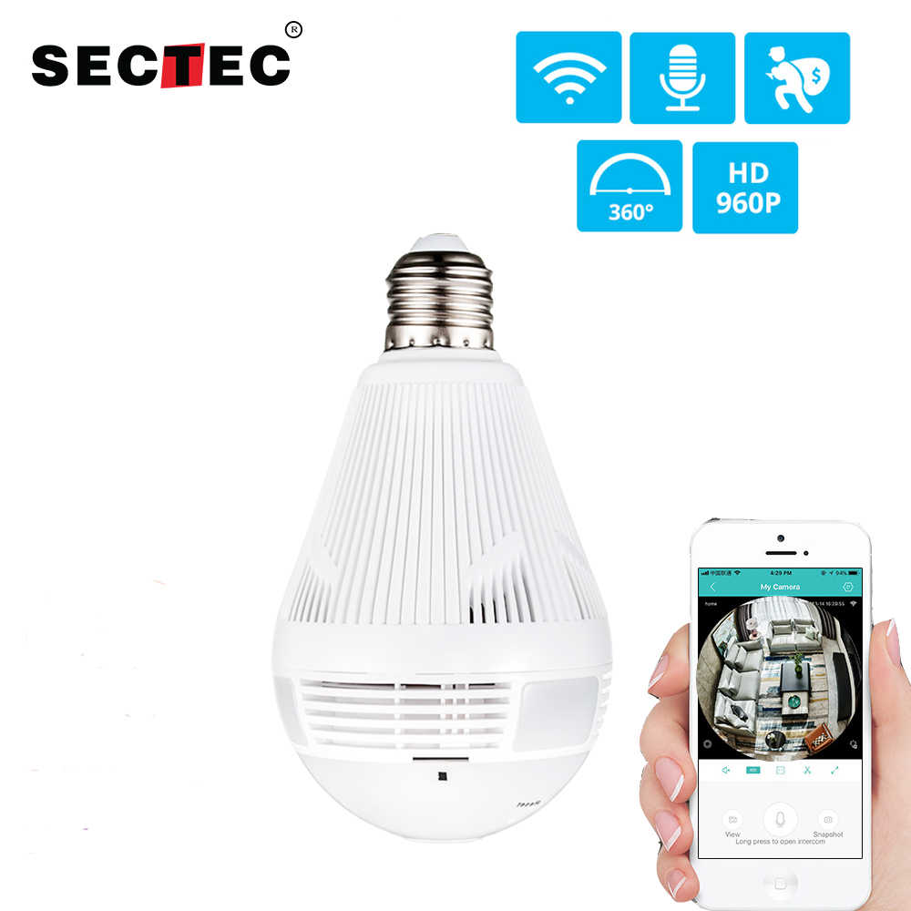 SECTEC LED Light 960P Wireless Panoramic Home Security WiFi CCTV Fisheye Bulb Lamp IP Camera 360 Degree Home Security Burglar