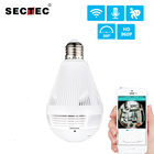 SECTEC LED Light 960P Wireless Panoramic Home Security WiFi CCTV Fisheye Bulb Lamp IP Camera 360 Degree Home Security Burglar