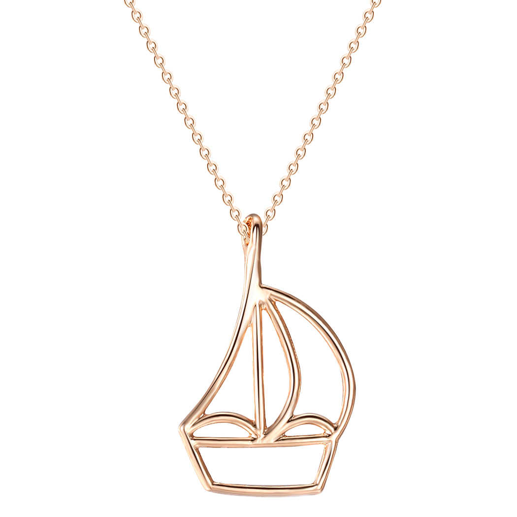 Rose Gold Sailboat Simple Necklace Charm Geometric Necklaces & Pendants For Women Chokers Jewelry Gift Men Jewelry