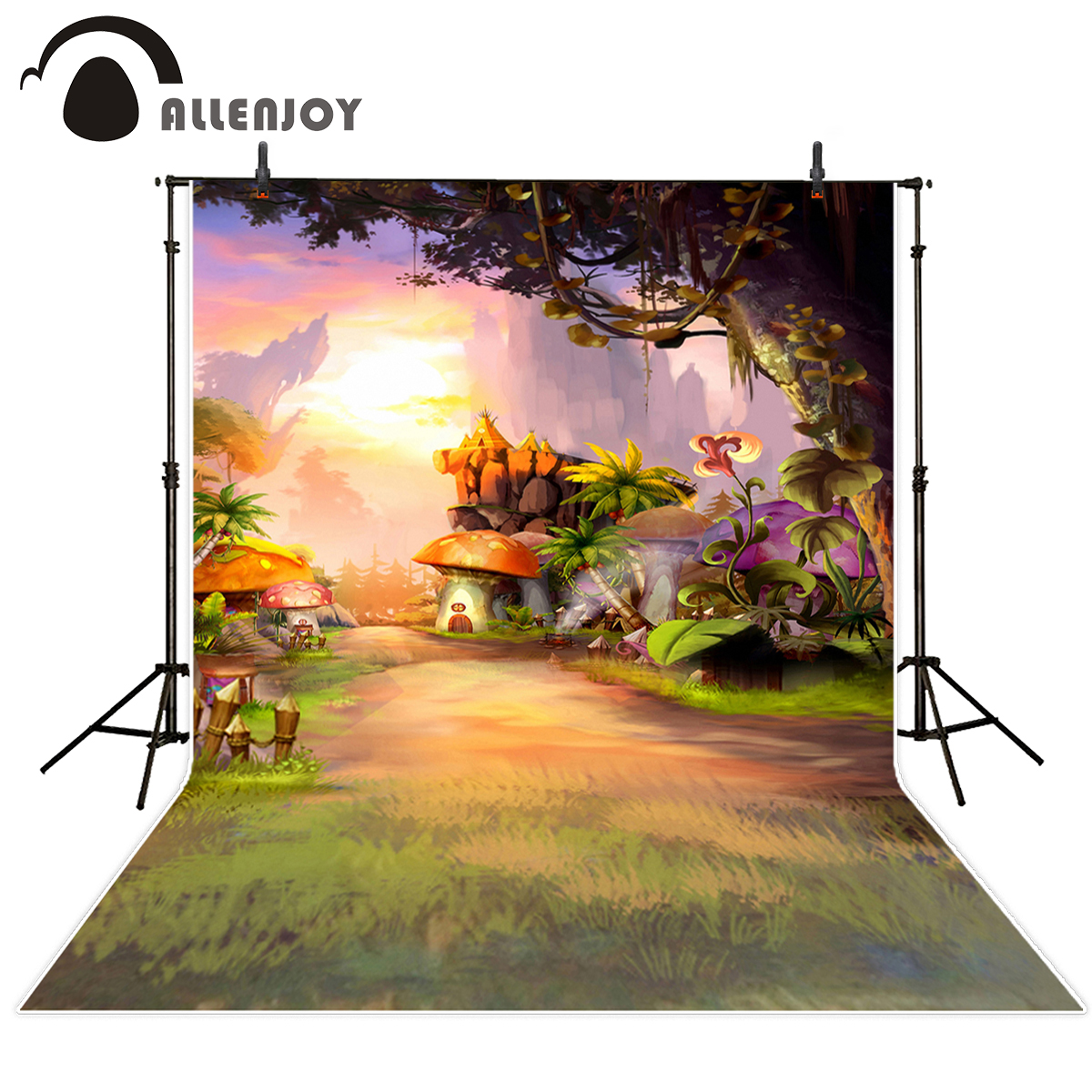 Allenjoy Cartoon mushroom flower animation background for photographic studio vinyl photography backdrops thin vinyl material