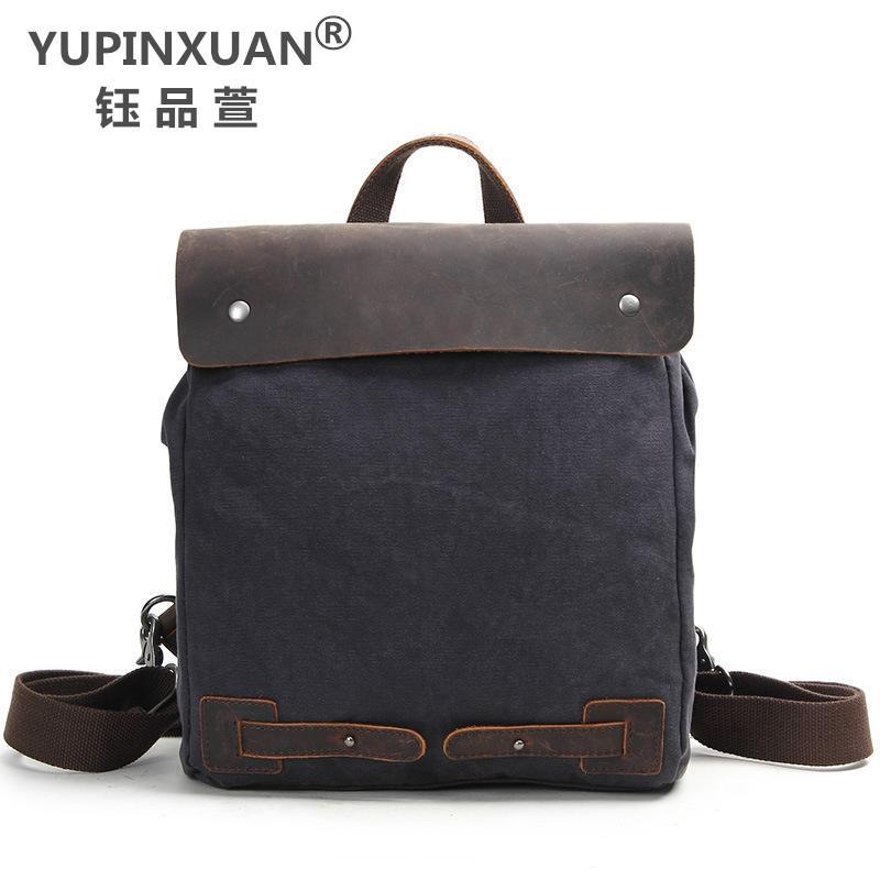 где купить YUPINXUAN Europe Vintage Canvas+Cow Leather Backpacks Unisex Daypacks Anti-Thief Design Rucksacks Retro School Bags with Rivets дешево