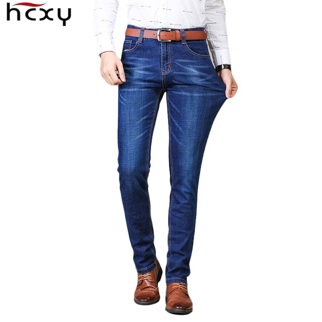 HCXY  2018 spring Men Jeans Business Casual Straight Slim Fit Jeans Quality fabric Denim Pants Trousers Classic Cowboys size 42
