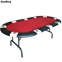 107*213*76 см Овальный казино складной стол для покера Texas Hold'em Baccarat три раза с водостойким тканевым столешницей + Tablel ноги