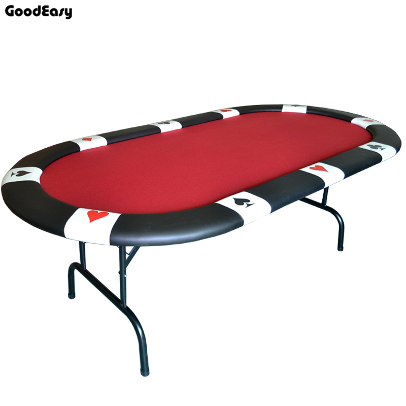 213*107*76cm Oval Casino Foldable Poker Table Texas Hold'em Baccarat Three Fold With Waterproof Fabric Table Top + Tablel Feet