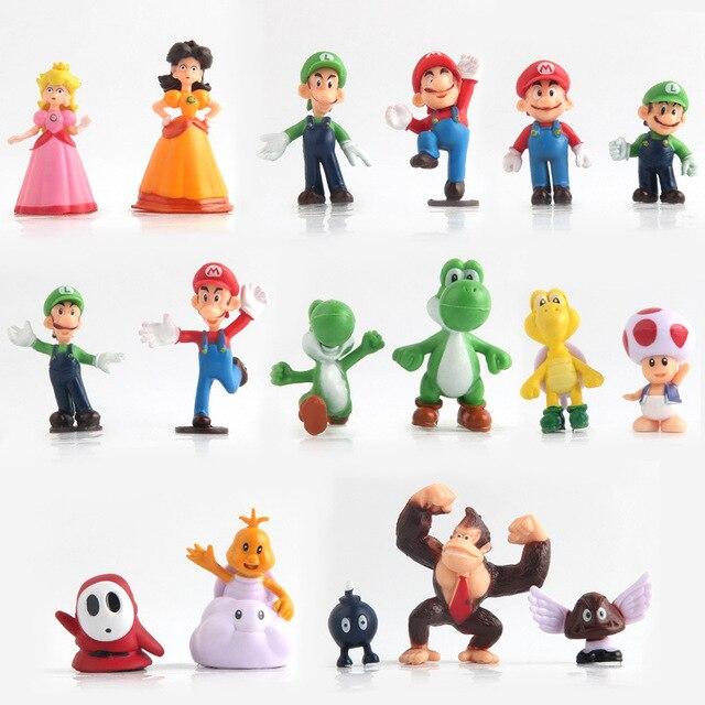 Us 119 17 Teilesatz Super Mario Pvc Action Figuren Spielzeug Bros Yoshi Dinosaurier Peach Toad Goomba Supermario Partydekorationen Spielzeug In 17