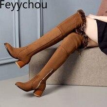 Женские ботинки осенне-зимние теплые мотоциклетные сапоги выше колена на молнии из флока на высоком каблуке новая пикантная модная коричневая обувь на меху, большие размеры 34-45