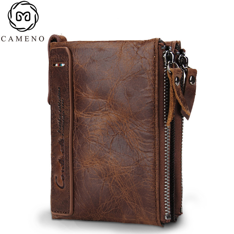 HOT Genuine Crazy Horse Cowhide Leather Men Wallet Short Coin Purse Small Vintage Wallet Brand High Quality Designer 2017 genuine cowhide leather brand women wallet short design lady small coin purse mini clutch cartera high quality