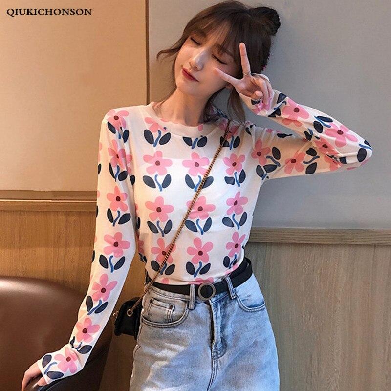 Long Sleeve T Shirts Women 2019 Summer Korean Style Floral Printed Tshirt Ladies Cute Sheer Mesh Top Transparent Shirt Camiseta
