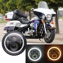 7 Inch Motorcycle LED Headlight Motorbike Car Headlamp 6500K H4 H13 45W With Angle Eyes High Low Beam For Honda Yamaha