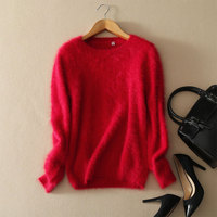 2017 Cute Sweater Pure Mink Cashmere O Neck Thick Sweater Pullover Solid Color Long Sleeve Autumn