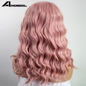 Image 5 - Anogol peluca con malla frontal sintética para mujer Peluca de pelo ondulado oscuro largo de fibra de alta temperatura, color rosa, color blanco